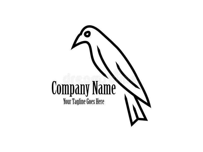 Abstrakcjonistyczny I Unikalny ptak z czerni linii projekta wektorowym szablonem Egzotyczny ptak na białym background ilustracja wektor