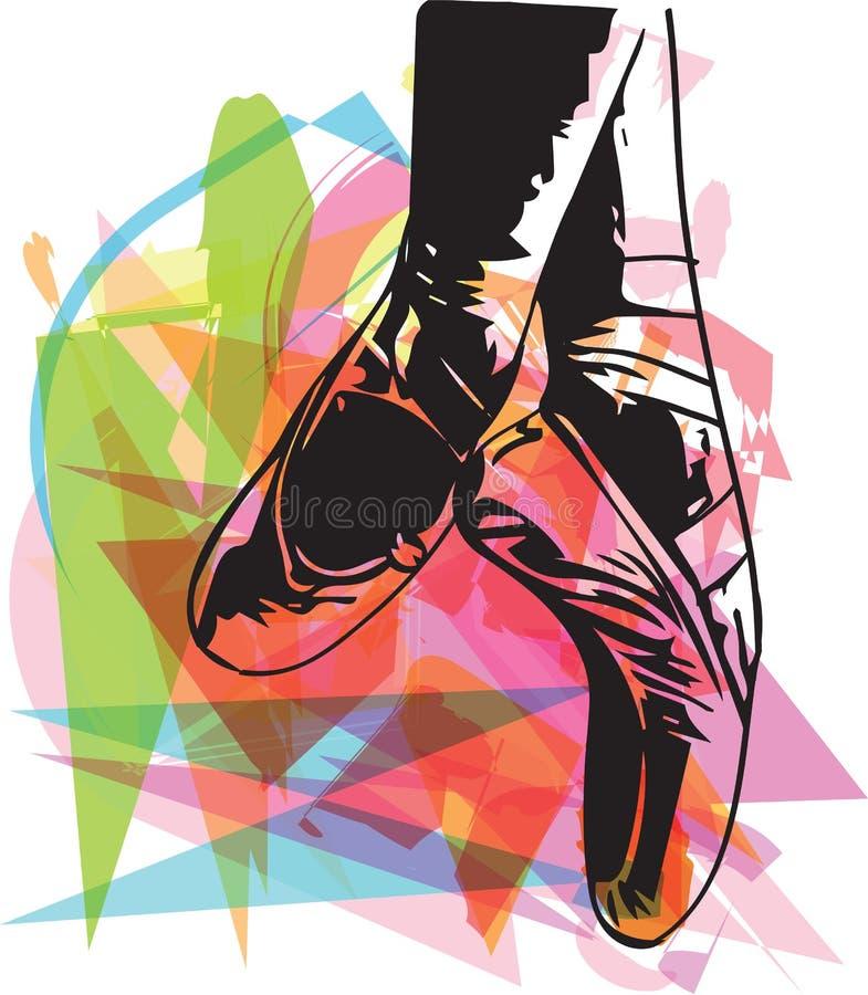 Abstrakcjonistyczny ilustracyjny balet wskazujący buty ilustracji