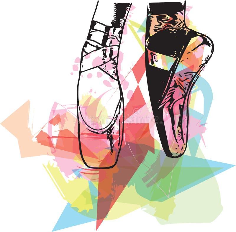 Abstrakcjonistyczny ilustracyjny balet wskazujący buty royalty ilustracja
