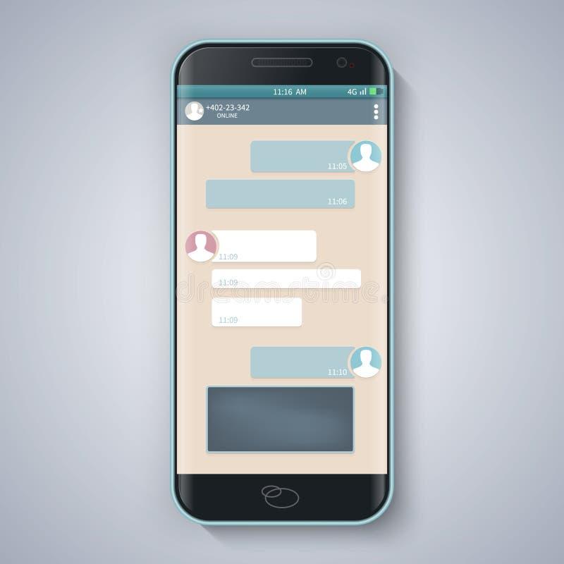 abstrakcjonistyczny ilustracyjny gona wektoru okno szablon pusty mądry telefon Chating i przesyłanie wiadomości pojęcie royalty ilustracja