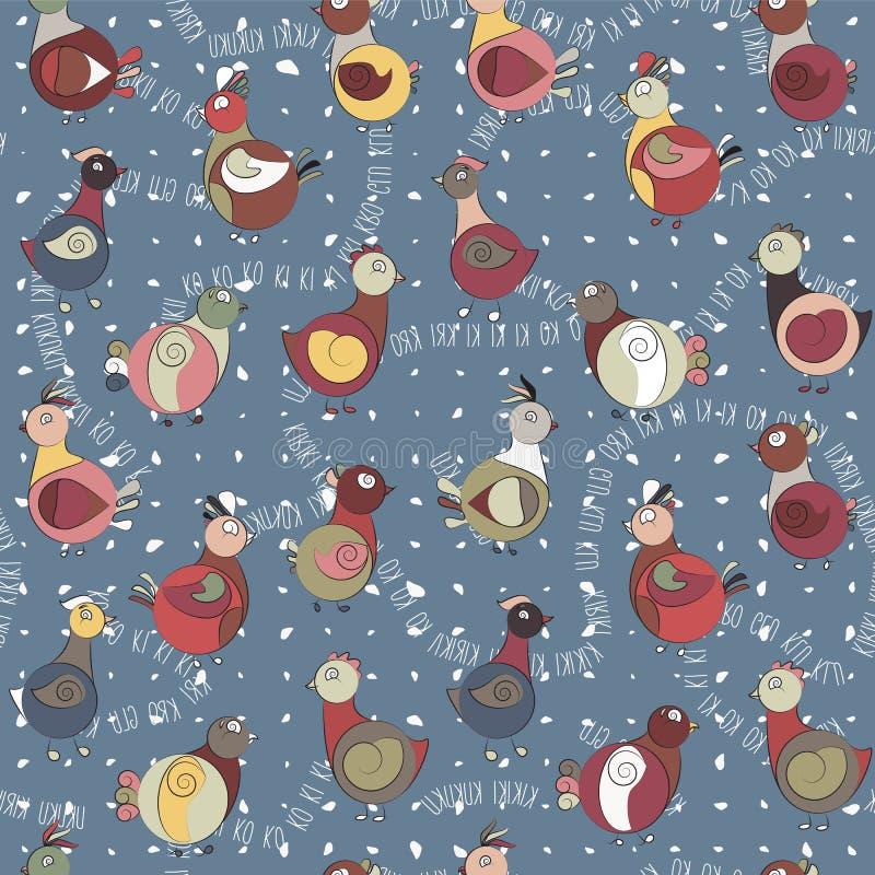 Abstrakcjonistyczny indyczy ptak, kurczak i gołąb, ilustracja wektor