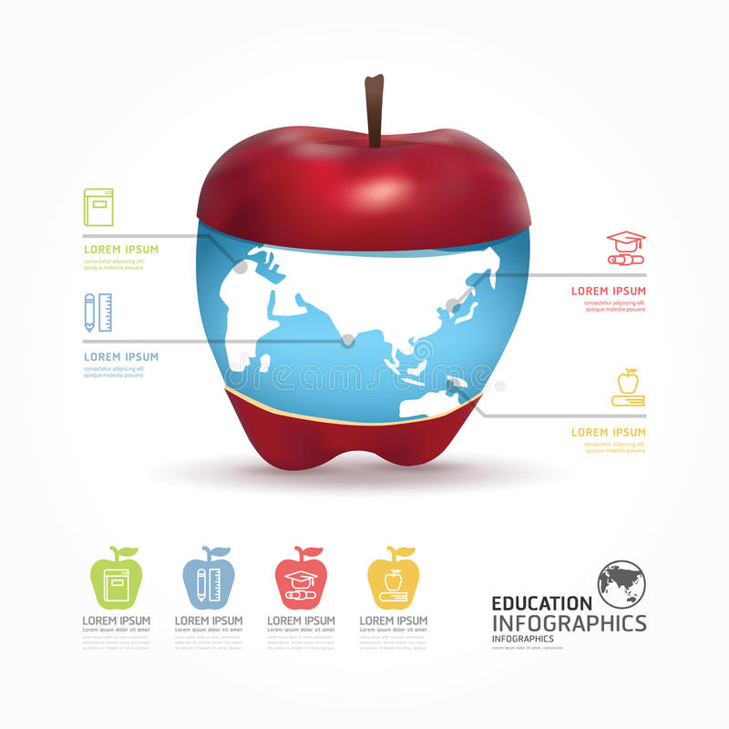 Abstrakcjonistyczny infographic projekta świat z jabłczanym szablonem/może być ilustracji
