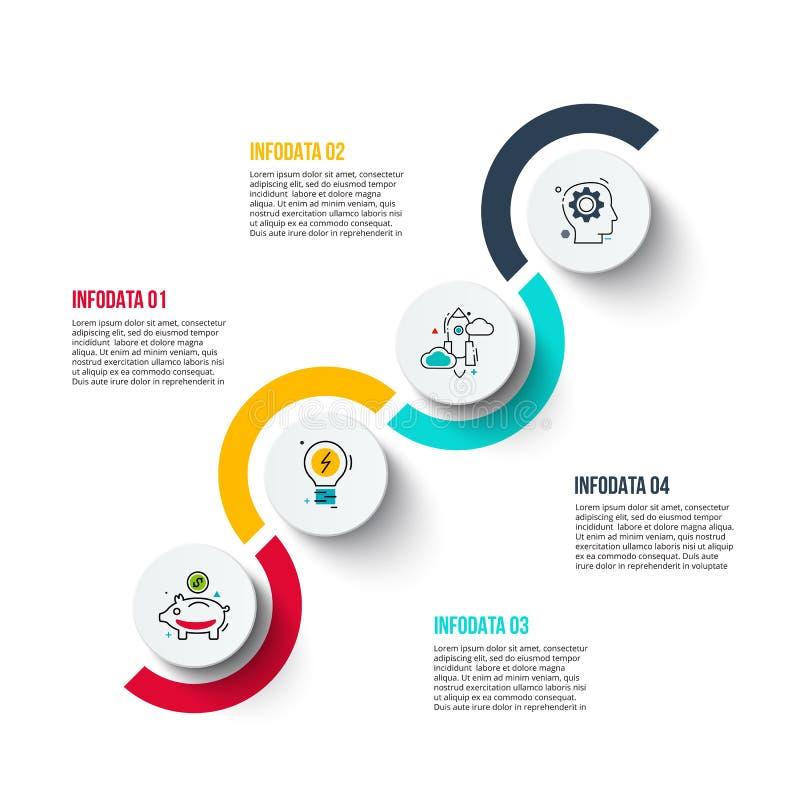 Abstrakcjonistyczny infographics liczby opcj szablon może używać dla obieg układu, diagram, biznesowe krok opcje royalty ilustracja