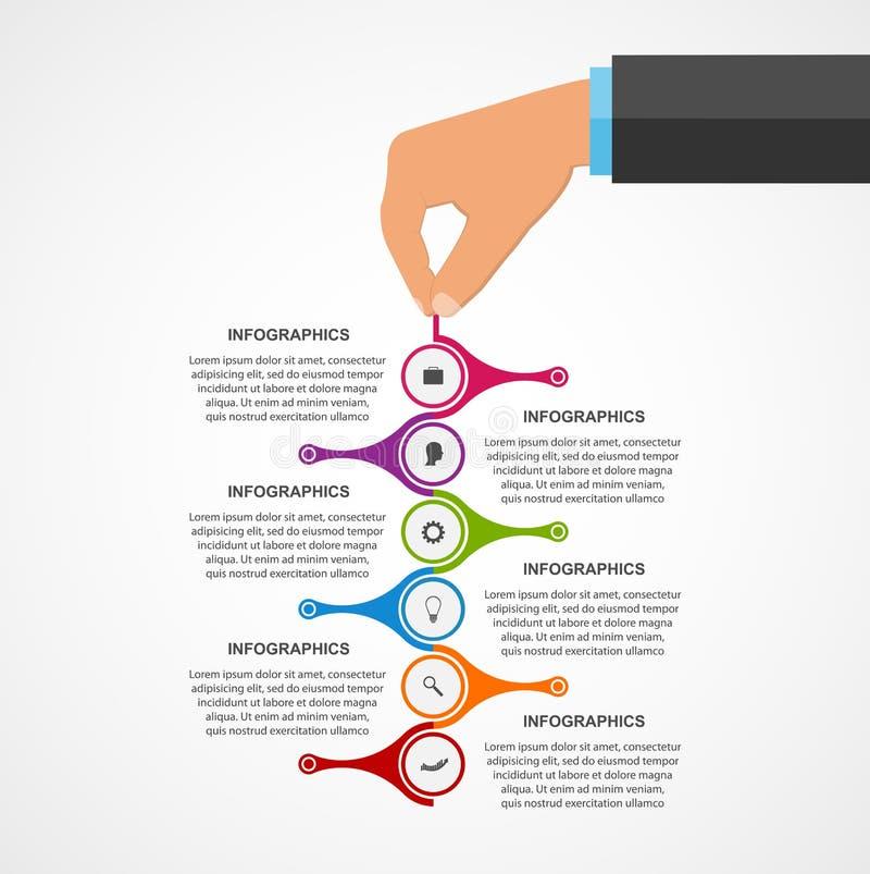 Abstrakcjonistyczny infographics projekta szablon z istotą ludzką wręcza trzymać round bloki ilustracji