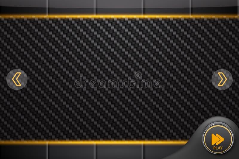 Abstrakcjonistyczny interfejs dla odtwarzacza medialnego lub gry, węgla tło ilustracja wektor