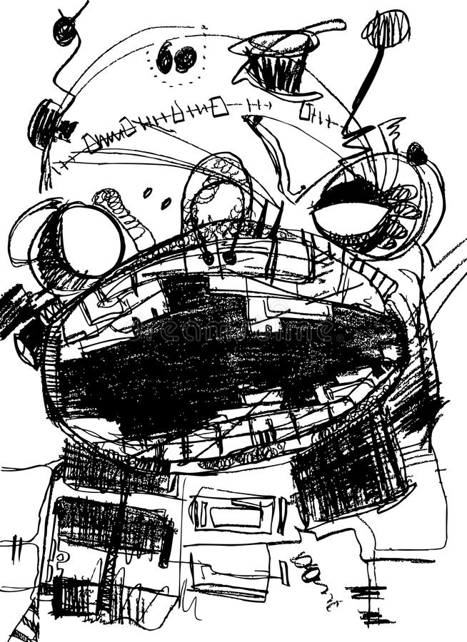 Abstrakcjonistyczny istota portret, ołówkowego rysunku styl, royalty ilustracja