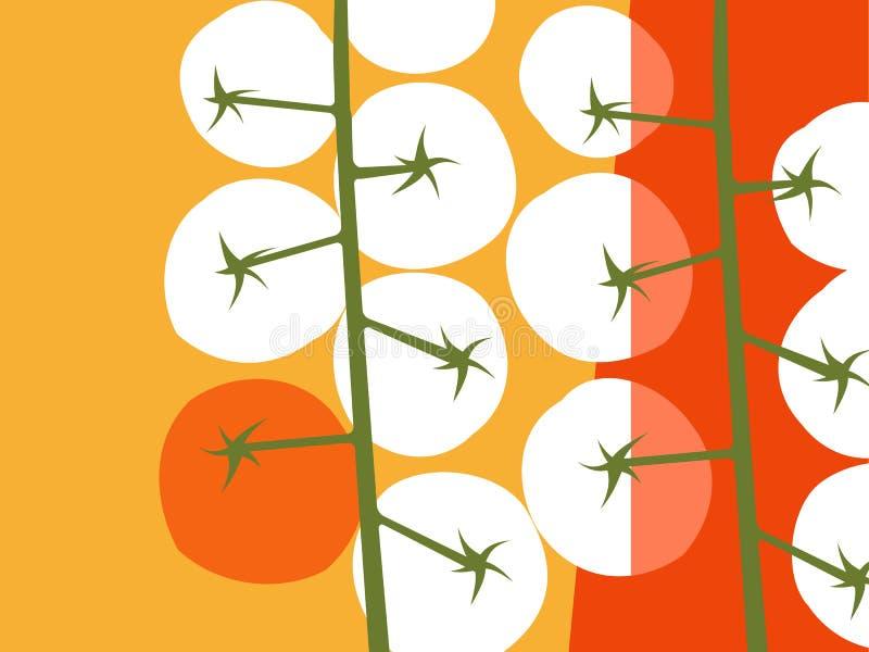Abstrakcjonistyczny jarzynowy projekt wiosłuje pomidory ilustracji