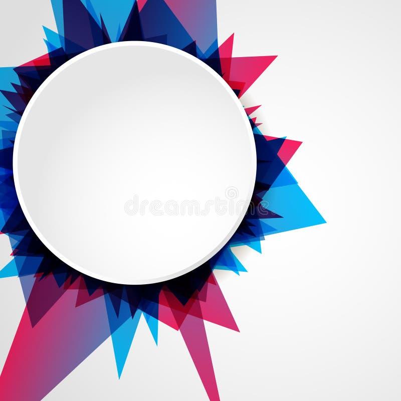 Abstrakcjonistyczny jaskrawy błękitny i różowy geometryczny kształt z pustym okręgiem, ulotka szablon z przestrzenią dla twój tek ilustracji