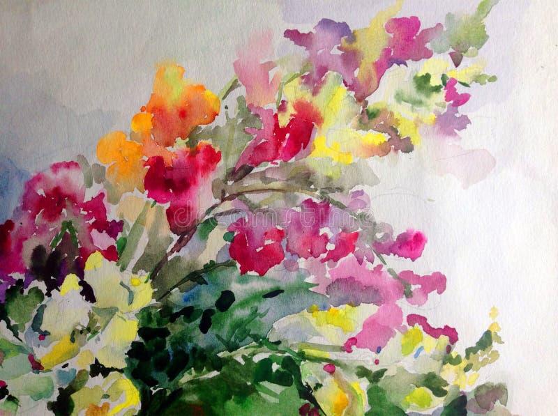Abstrakcjonistyczny jaskrawy barwiony dekoracyjny tło Kwiecisty deseniowy handmade Piękna czuła romantyczna okwitnięcie gałąź ilustracja wektor