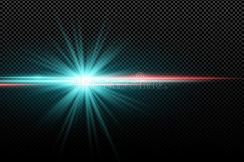 Abstrakcjonistyczny jaskrawy elegancki lekki skutek na przejrzystym tle Jaskrawa rozjarzona gwiazda Stubarwni racy niebieskie wią ilustracja wektor