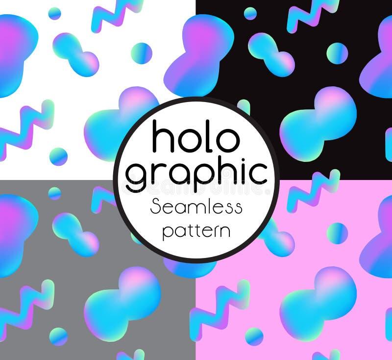 Abstrakcjonistyczny jaskrawy holograficzny tło ilustracja wektor