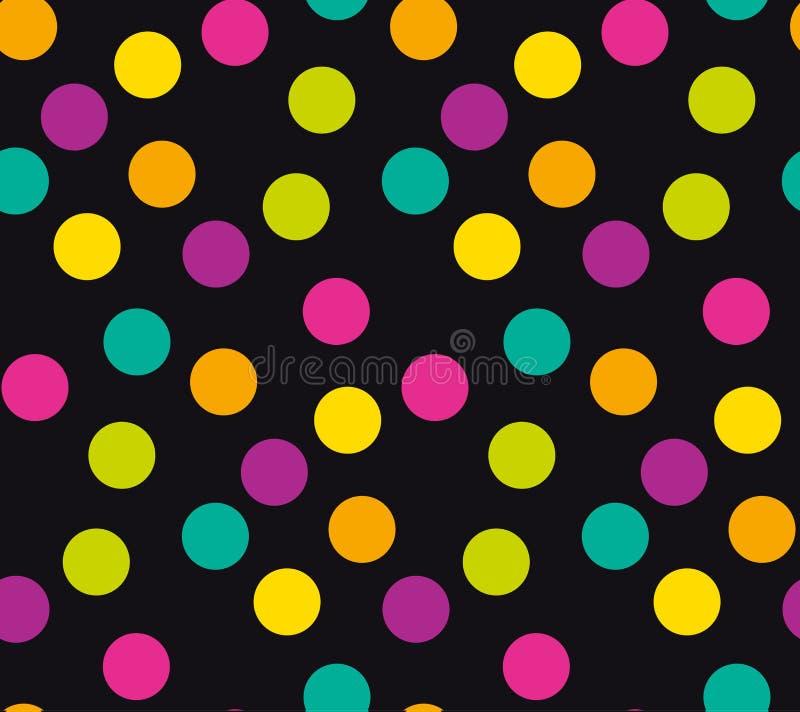 Abstrakcjonistyczny jaskrawy kolor polki kropki bezszwowy wzór ilustracja wektor
