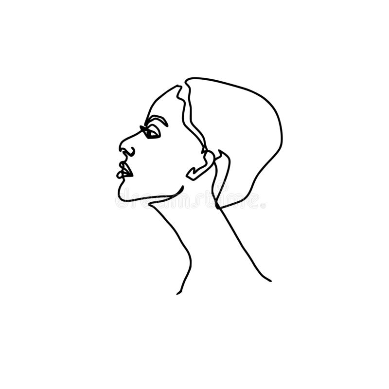 Abstrakcjonistyczny jeden twarzy kreskowy rysunek Piękno kobiety portret odizolowywający na bielu Minimalistic styl Ciągła linia royalty ilustracja