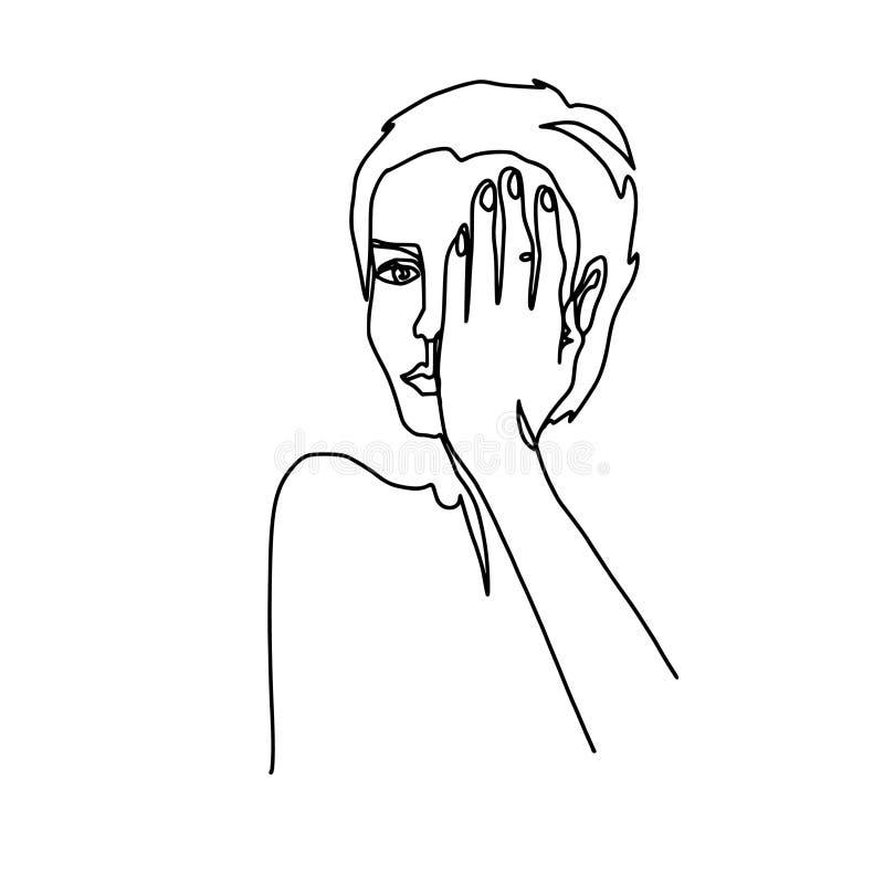 Abstrakcjonistyczny jeden twarzy kreskowy rysunek Piękno kobiety portret odizolowywający na bielu Minimalistic styl Ciągła linia ilustracja wektor