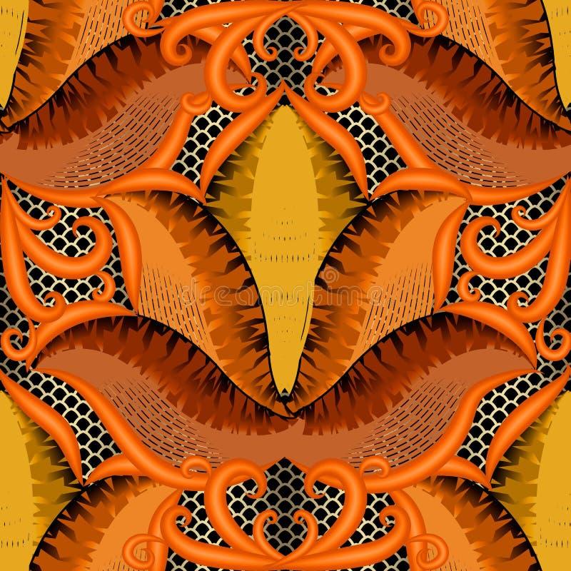 Abstrakcjonistyczny jesień wektoru 3d bezszwowy wzór Kwiecisty ornamentacyjny gr ilustracja wektor