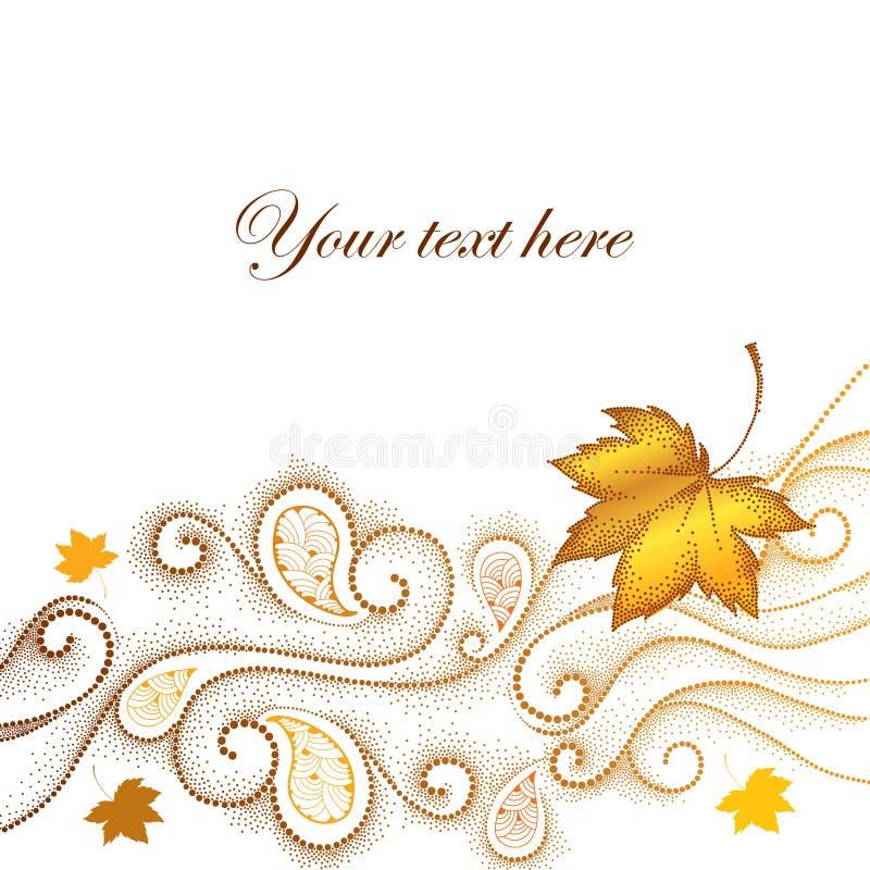 Abstrakcjonistyczny jesieni tło z kropkowanymi liśćmi klonowymi i zawijasami royalty ilustracja