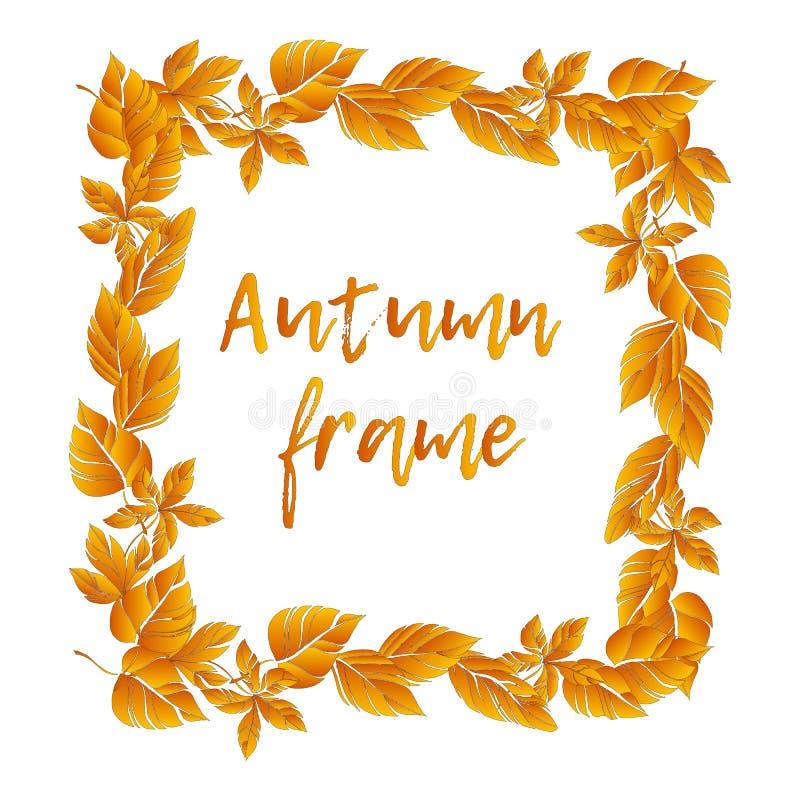 Abstrakcjonistyczny jesienny tło z latającymi liśćmi klonowymi Sezonu jesiennego kartka z pozdrowieniami, plakat, ulotka royalty ilustracja