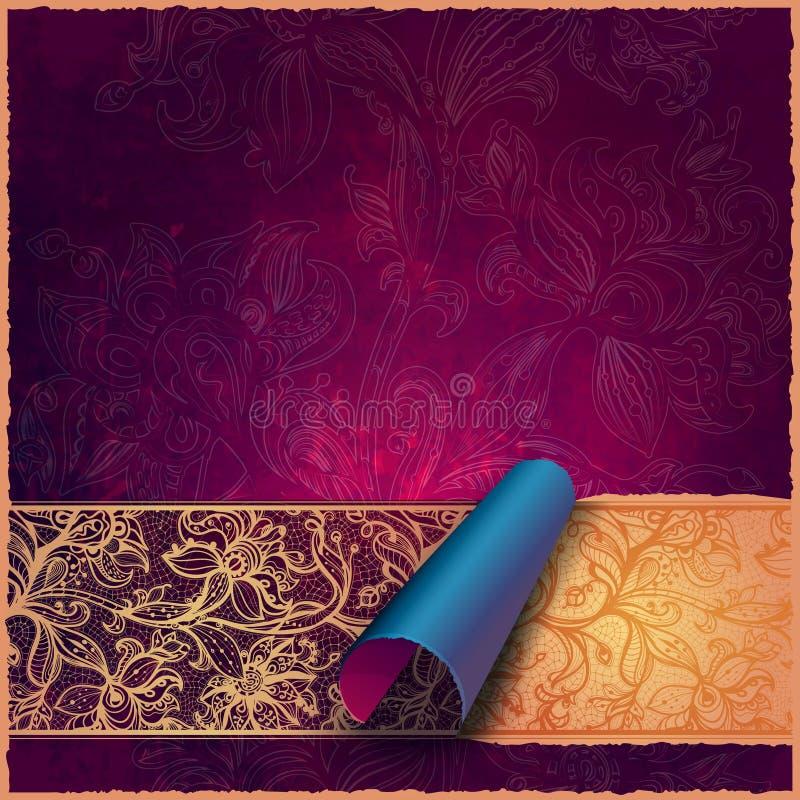 Abstrakcjonistyczny kartka z pozdrowieniami, tło z kwiatami i dekoracyjni liście. ilustracja wektor