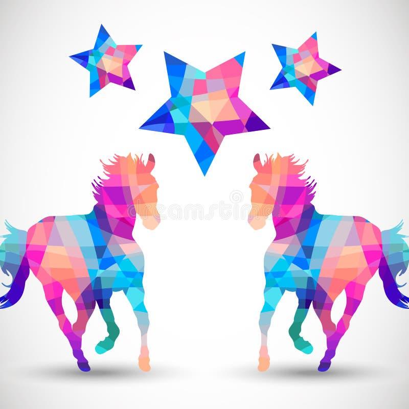 Abstrakcjonistyczny koń geometryczni kształty z gwiazdą ilustracja wektor