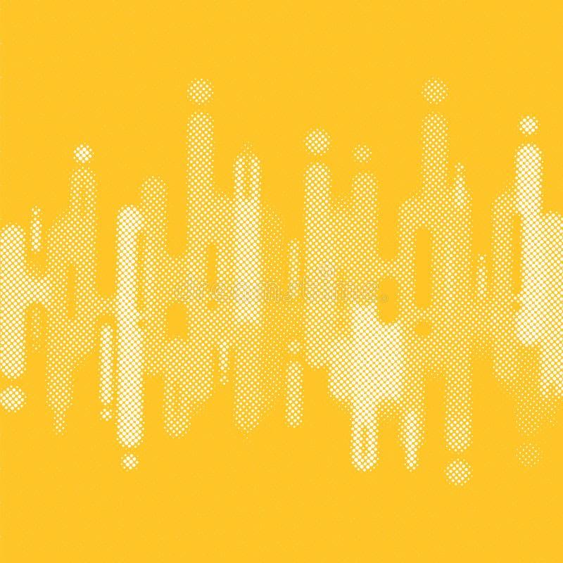 Abstrakcjonistyczny kolor żółty zaokrąglający kształtuje linii przemiany tło z kopii przestrzenią Elementu halftone styl ilustracji
