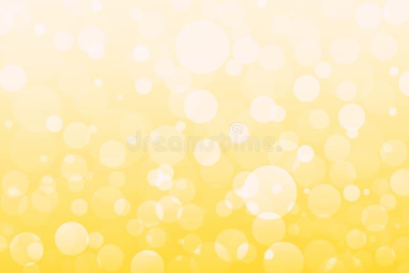 Abstrakcjonistyczny kolor żółty, pomarańcze, złoci światła, bokeh tło royalty ilustracja