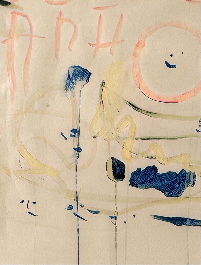 Abstrakcjonistyczny kolorowy acrilic obraz z pluśnięciem, przepływu puszkiem, kapinosami, uśmiechem i literowaniem, royalty ilustracja