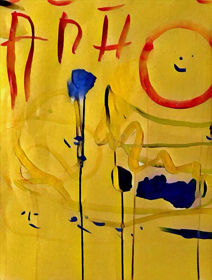Abstrakcjonistyczny kolorowy acrilic obraz z pluśnięciem, przepływu puszkiem, kapinosami, uśmiechem i literowaniem, ilustracji