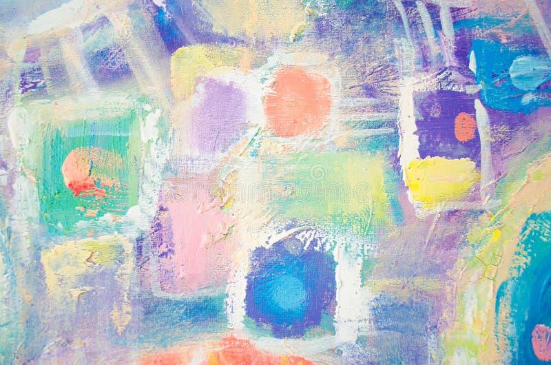 Abstrakcjonistyczny kolorowy akrylowy obraz kanwa Grunge tło Szczotkarskie uderzenie tekstury jednostki artystyczna tło royalty ilustracja