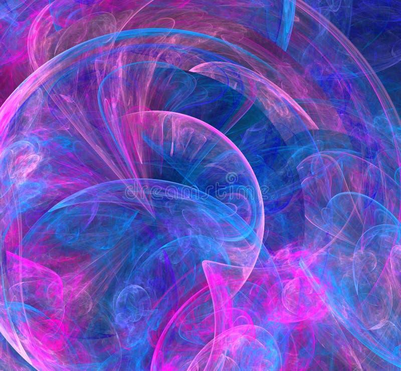 Abstrakcjonistyczny kolorowy błękitny i fiołkowy fractal na czarnym tle Fantazi fractal tekstura abstact głębokie sztuki czerwony royalty ilustracja
