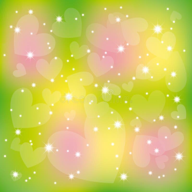 abstrakcjonistyczny kolorowy błyskotliwości serc gwiazd valentine ilustracja wektor