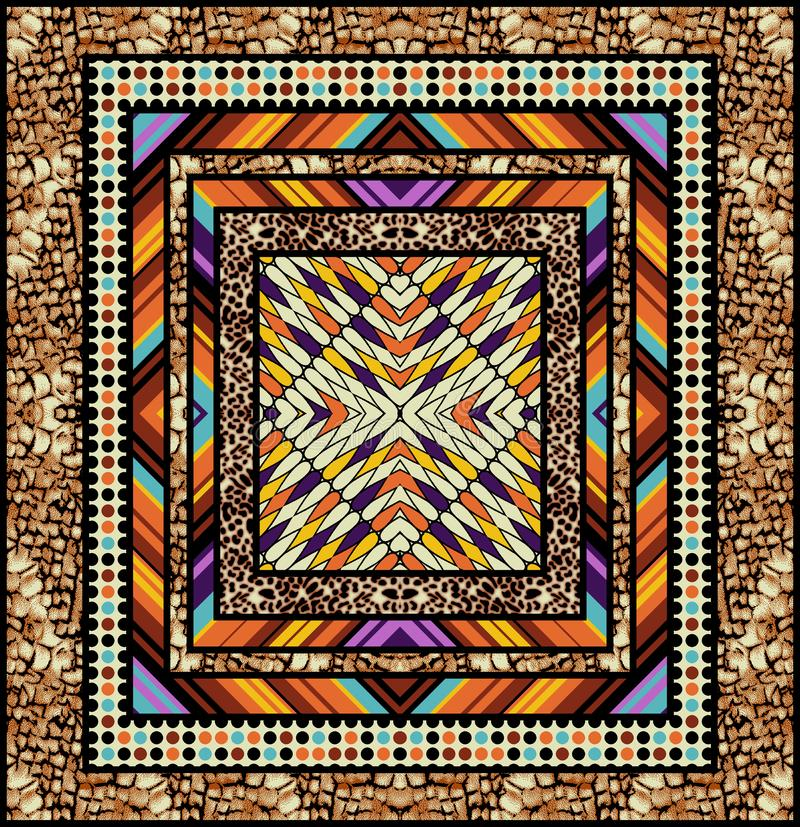 Abstrakcjonistyczny kolorowy blokowego druku wzór royalty ilustracja