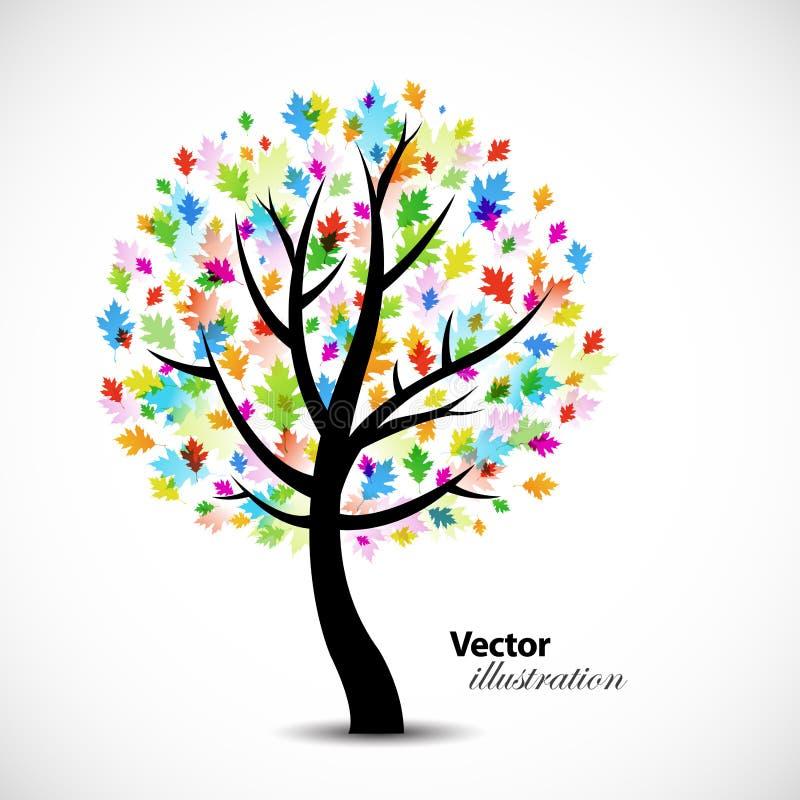 abstrakcjonistyczny kolorowy dębowy drzewo ilustracja wektor