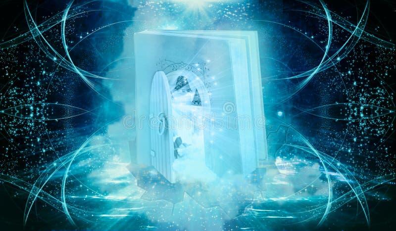 Abstrakcjonistyczny Kolorowy 3d renderingu komputer Wytwarzał ilustrację książka Kształtująca brama Z Innym Dimensional otwarte d royalty ilustracja