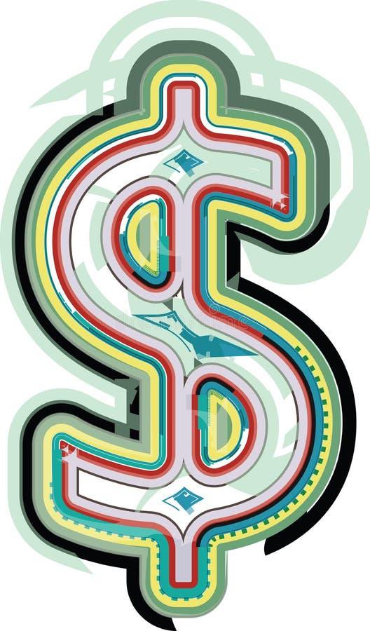 Abstrakcjonistyczny kolorowy Dolarowy znak ilustracja wektor