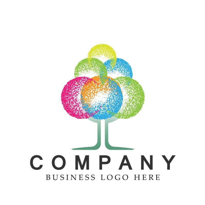 Abstrakcjonistyczny kolorowy drzewny Halftone nowożytny drzewny logo ikony projekta element dla biznesowej firmy logo na białym t ilustracja wektor