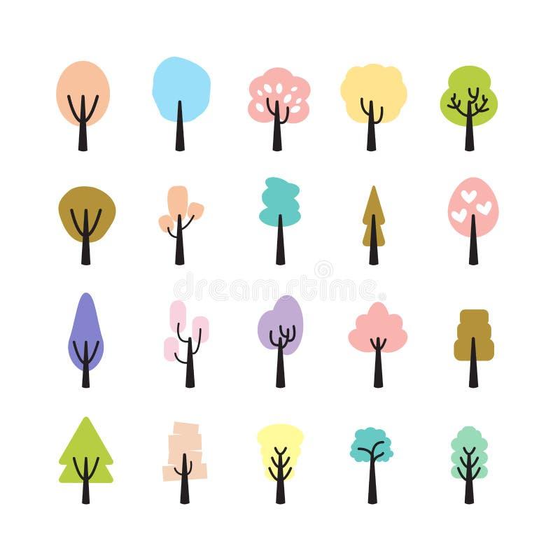 Abstrakcjonistyczny kolorowy drzewny ikona set, wektor eps10 ilustracja wektor
