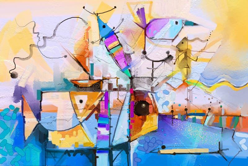 Abstrakcjonistyczny kolorowy fantazja obraz olejny Semi abstrakt drzewo, kwiat i ryba w krajobrazie, royalty ilustracja