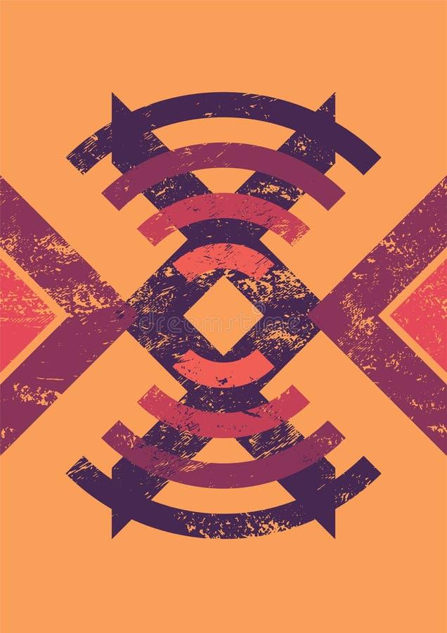 Abstrakcjonistyczny kolorowy geometryczny typograficzny rocznika grunge tło retro ilustracyjny wektora ilustracji