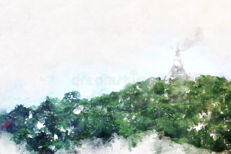 Abstrakcjonistyczny kolorowy halnego szczytu i drzewa krajobraz na akwarela obrazu ilustracyjnym tle ilustracja wektor