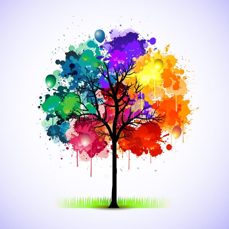 abstrakcjonistyczny kolorowy ilustracyjny drzewo ilustracji