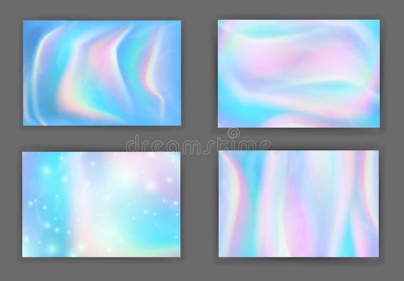Abstrakcjonistyczny Kolorowy iryzuje tła ustawia prostokątnego skład Modny pozaziemski gradient dla projekta, pokrywa, plakat, pl royalty ilustracja