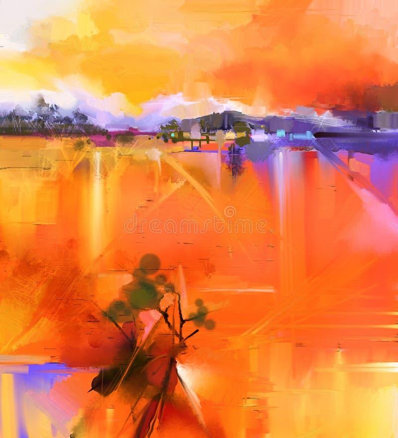 Abstrakcjonistyczny kolorowy koloru żółtego i czerwieni obrazu olejnego krajobraz ilustracji