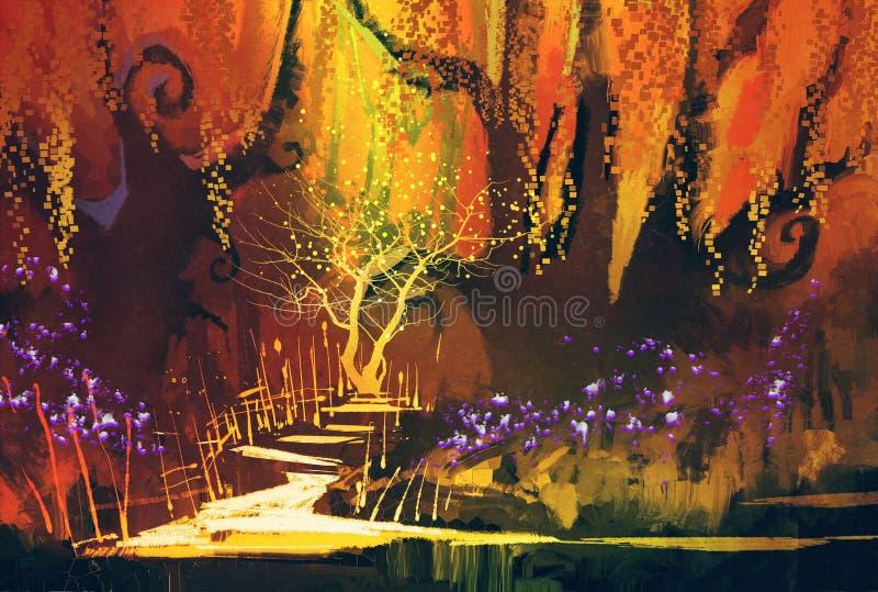 Abstrakcjonistyczny kolorowy krajobraz, fantazja las ilustracja wektor