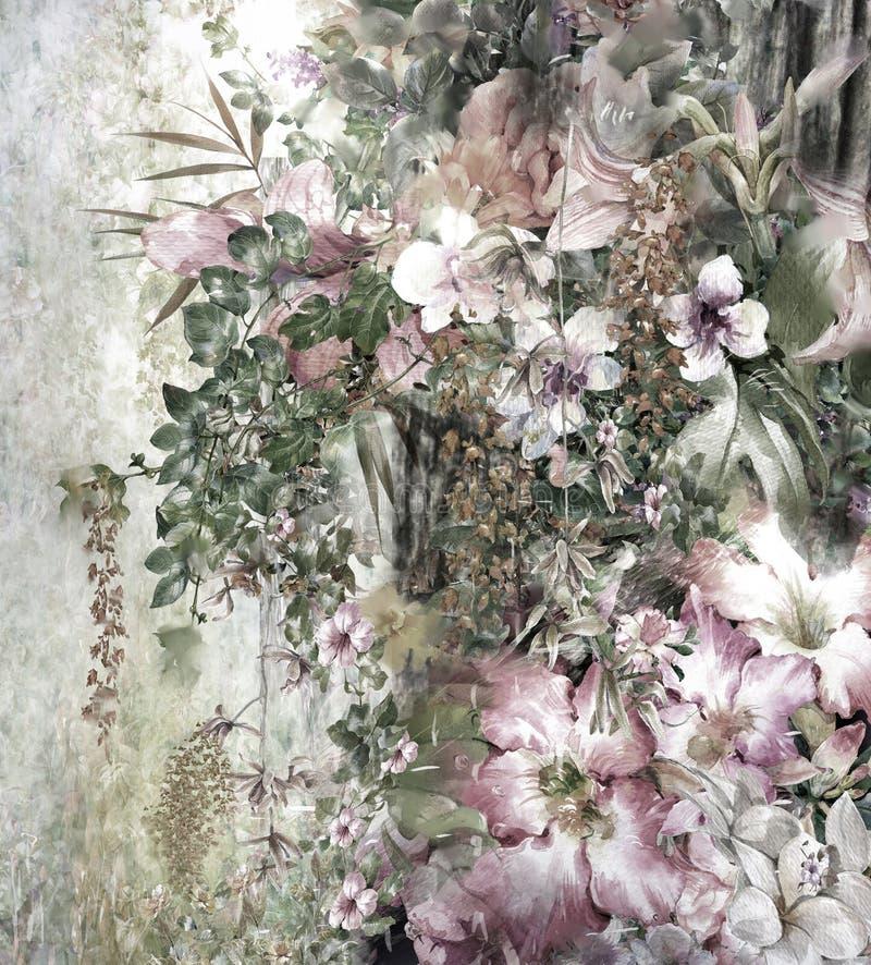 Abstrakcjonistyczny kolorowy kwiat akwareli obraz zdjęcie royalty free