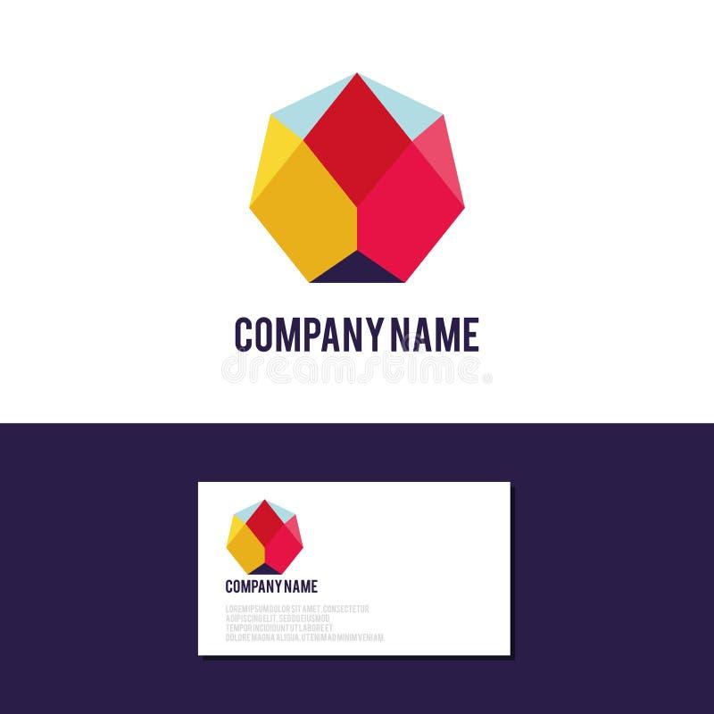Abstrakcjonistyczny kolorowy logo, tożsamość dla firmy, strona internetowa logotyp depresja poli- ilustracja wektor