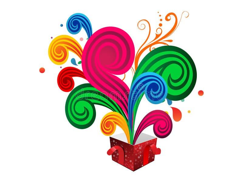 Abstrakcjonistyczny kolorowy magii pudełko wybucha wektorową ilustrację zdjęcie stock