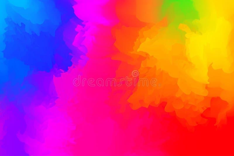 Abstrakcjonistyczny kolorowy mieszany dla tła, tęczy akwareli plamy maluje dla karcianej sztandar reklamy, sztuka obrazu menchia  ilustracji