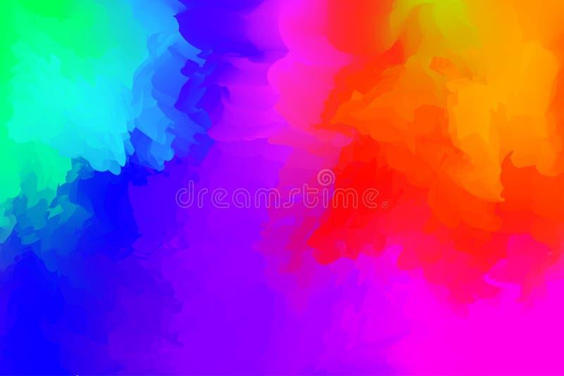 Abstrakcjonistyczny kolorowy mieszany dla t?a, t?czy akwareli plamy maluje dla karcianej sztandar reklamy, sztuka maluje b??kit b ilustracji