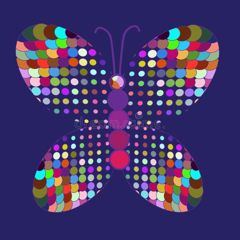 Abstrakcjonistyczny kolorowy motyl w wektorze ilustracja wektor