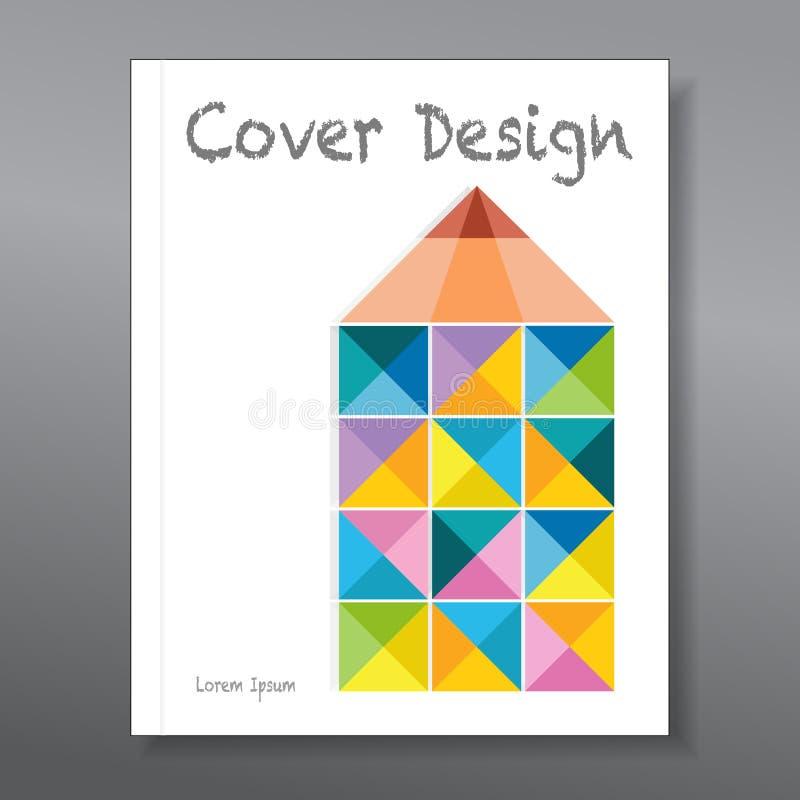 Abstrakcjonistyczny kolorowy ołówek Okładkowy projekta szablonu układ obraz stock
